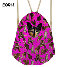 FORUDESIGNS Drawstring Bag 3D Cat Printed String Sack Beach Women Men Travel Storage Package Teenagers Backpack Dropshipping New
