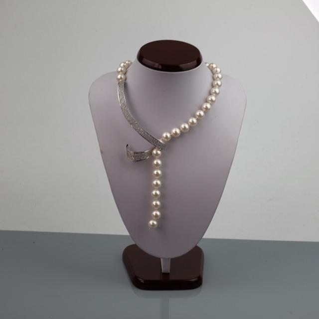 Shell pérola do mar profundo mulheres longos colares de prata banhado a cobre simulado pérolas vertente contas senhoras colar de jóias de moda