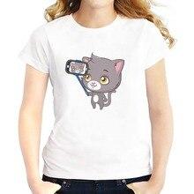 cute blue cat selfie t shirts feminina jollypeach new soft Breathable tshirt femme Short Sleeve white casual T-Shirts
