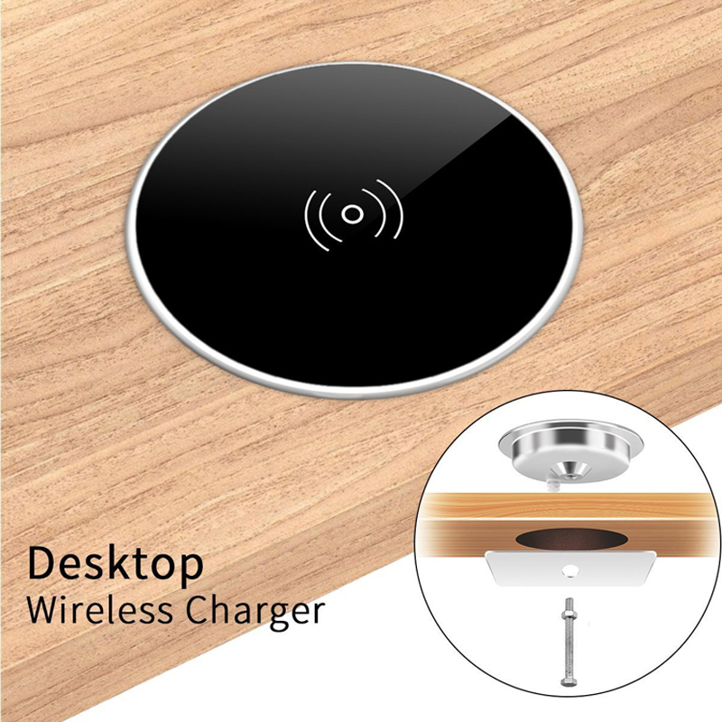 Universal Qi Wireless Charger For Samsung Galaxy S8 Note 9 Furniture Office Table Desk Mounted Quick Charging Pad For IPhone 8 X(China)