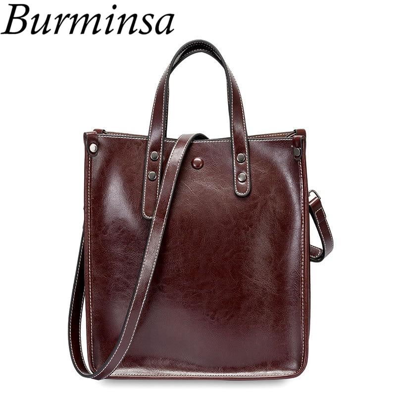 Burminsa Ladies Genuine Leather Handbags Female Shoulder Bags Vintage Women Messenger Bags High Quality Tote Bags