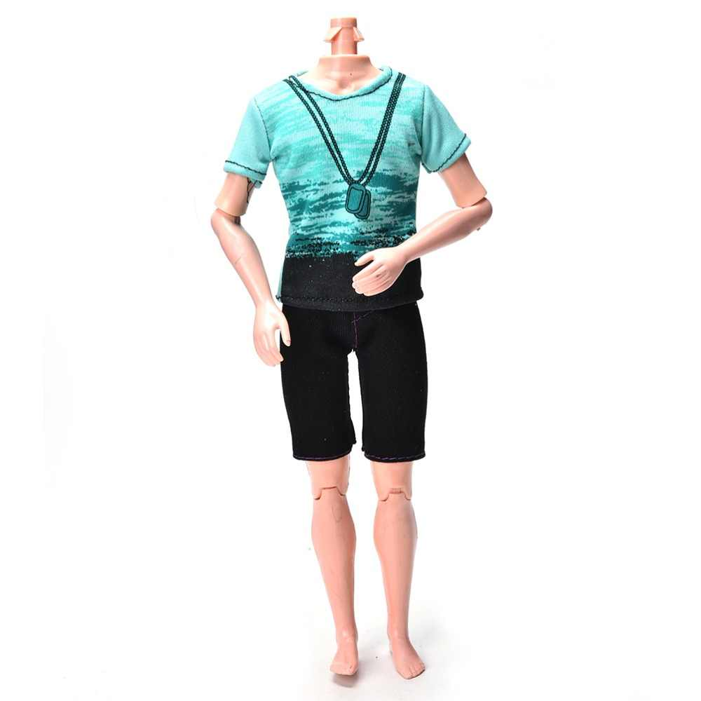 2 teile/satz Mode Hosen Anzug Handgemachte Grüne T-Shirt Schwarze Kurze Sommer Für Mädchen Puppe Kleidung