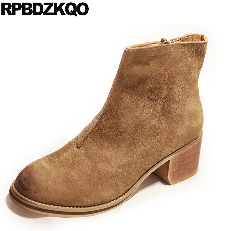 Women Ankle Boots Medium Heel Genuine Leather Booties Vintage Thick Suede Round Toe Chunky Shoes Slip On Platform Brown Fall strange heel women ankle boots genuine leather elastic booties wedge shoes woman high heels slip on women platform pumps