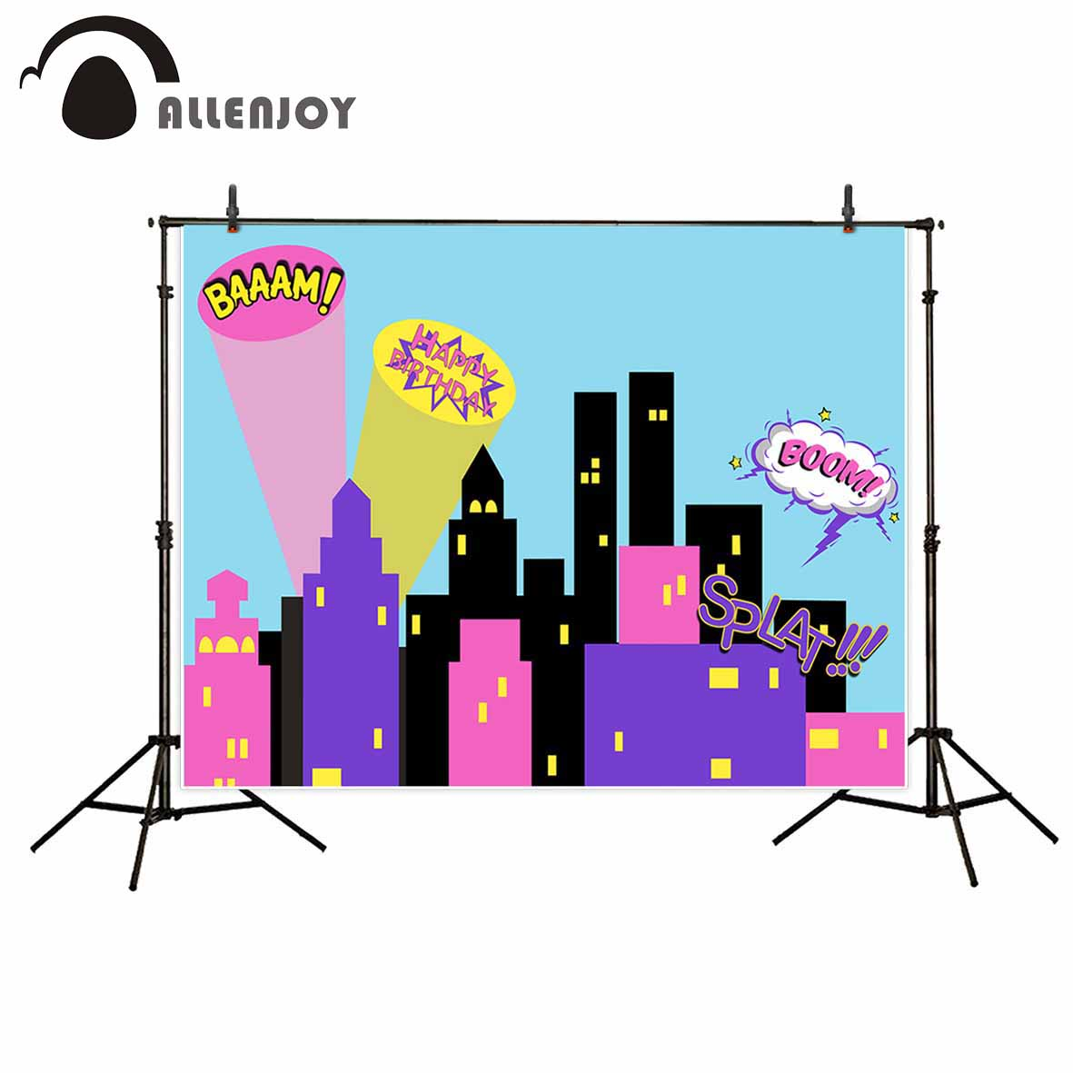 Allenjoy photographic background Cartoon city birthday boom children new backdrop photocall photo printer customize new arrivals