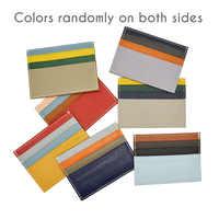 100% Genuine Leather Litchi Grain Multi Random Colors Patchwork Card Wallet Credit ID Card Holder Purse Money Case for Men Women