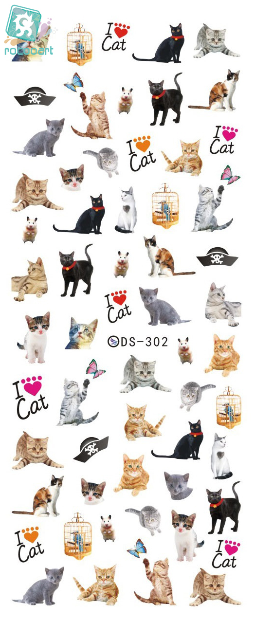 Rocooart DS302 Nail Water Transfer Nails Art Sticker Harajuku Elements Cute Cats Nail Wraps Sticker Tips Manicura nail Decal ds311 new design water transfer nails art sticker harajuku elements colorful water drops nail wraps sticker manicura decal