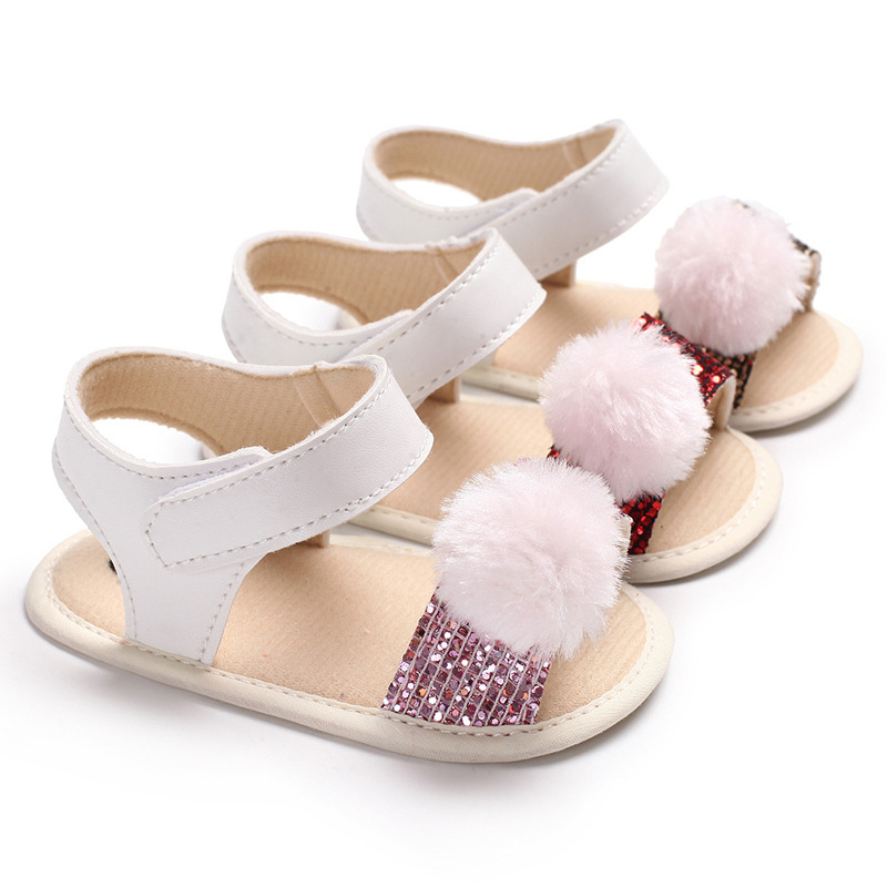 2018 New Baby Girls Summer Shoes Hot Fashion Fur Ball Baby First Walkers Infant Toddler Shoe