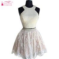 Двойка Бальные платья Кружево Короткие вечерние платья платье для выпускного вечера коктейльное платье с жемчугом 2016 Свадебные платья пра
