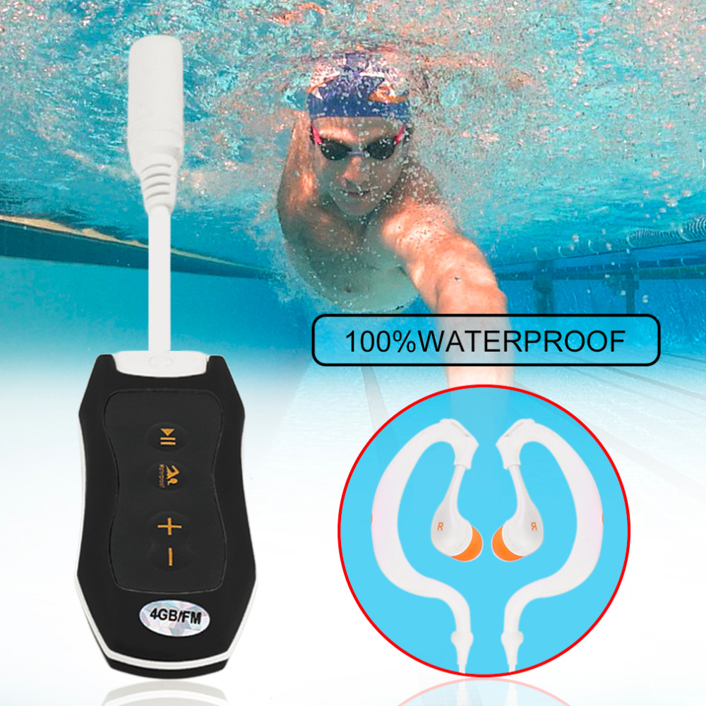 8GB Waterproof MP3 Player Portable No Screen Mini Mp3 Player FM For Swimming Diving Hiking With Small Clip Design