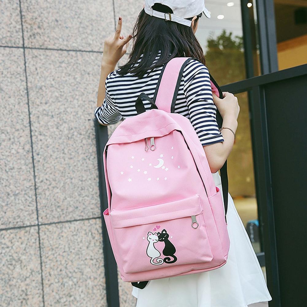 4pcs/set Canvas Women Backpack Schoolbag Printing Cute Cat School Bag Bagpack For Teenager Girls Sac A Dos Mochila Feminina #2