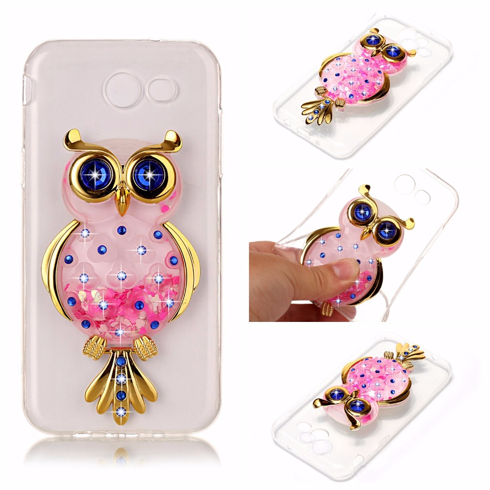 For Samsung J5 J7 Prime J5 J7 2016 case DIY OWL Dynamic Liquid Glitter Quicksand back cover for Galaxy J5 J7 2017 soft TPU case