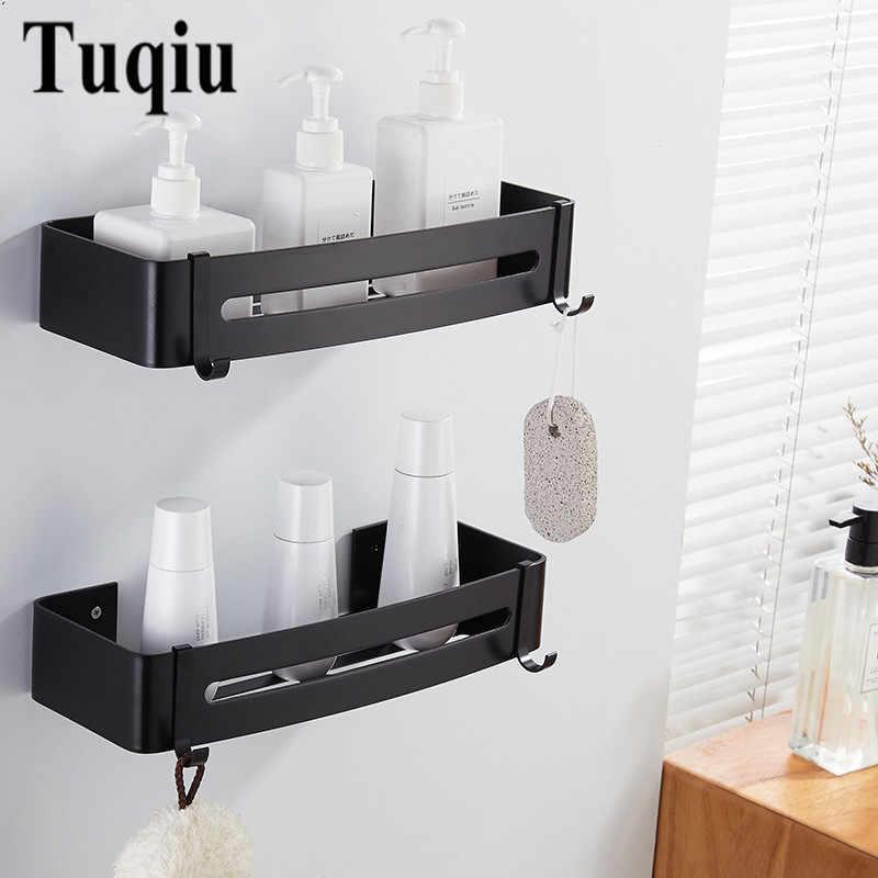 Półka łazienkowa wanna półka po prysznic wanna uchwyt na szampon łazienkowa półka narożna naścienny czarny aluminiowy kuchenny uchwyt do przechowywania