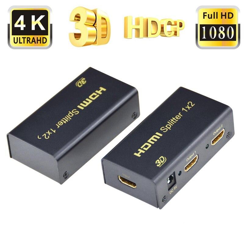 Aikexin 4 K * 2 K HDMI Splitter 1×2 Full HD 3D de Divisão de
