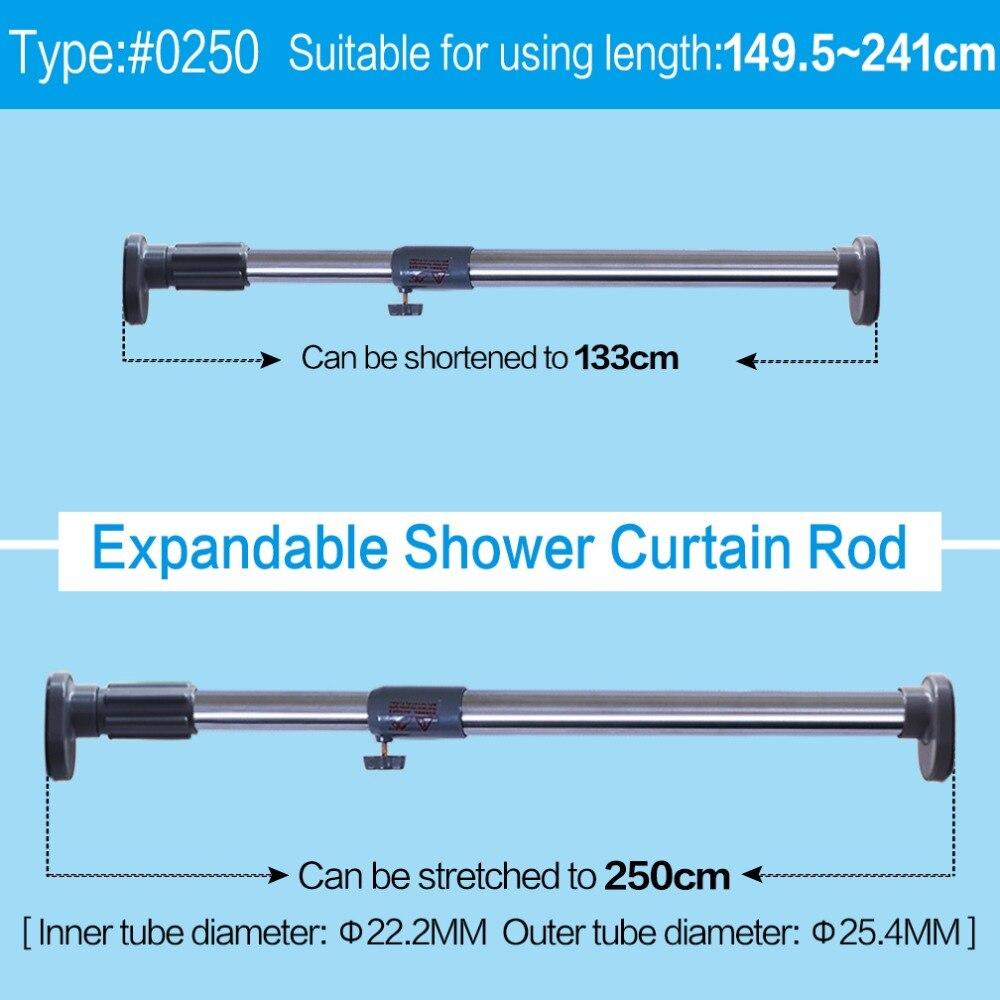 Telescopic Rod Shower Curtain Curtain Rod Adjustable 150//270 cm Room Divider