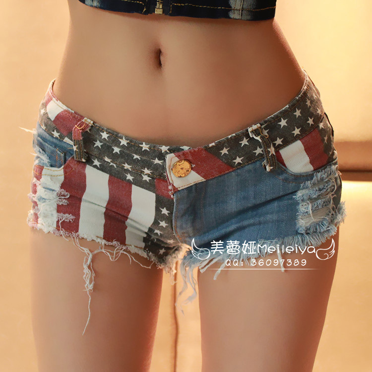 e8029ad80a3 Sexy Disco Crop Top Dress 2016 Summer Style Flag female denim shorts ripped  skinny women short jeans femme girls hot skort Free-in Shorts from Women's  ...