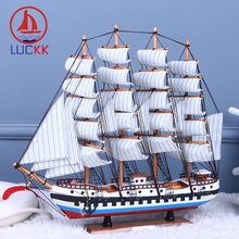 LUCKK DIY 50 CM Wooden Sailboat Ship Model Red Blue Patchwork Wholesale Home Office Decoration Accessorie Crafts Free Shipping