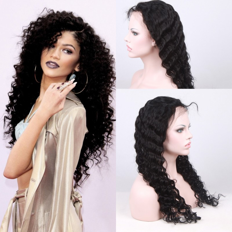 130% Density Brazilian Virgin Hair Deep Wave Lace Front Wigs Glueless Full Lace Wig 8A U Part Human Hair Wigs For Black Women Free Shipping by DHL TNT FEDEX