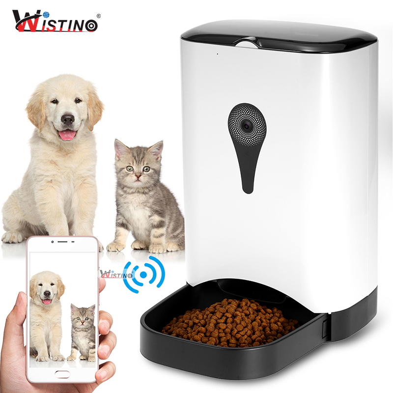 Wistino Wifi bol automatique pour animal de compagnie Distributeur De Nourriture Alimentation pour Chien Chat D'enregistrement Avec HD 720 P WiFi Caméra Sans Fil Contrôle du Téléphone