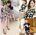2016 Summer Style Mom + Girl baby Family fitted Navy Brands style Short sleeve Casual Skirt the printing Dress Princess dress