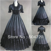 Freeshipping V 394 Black Vintage Gothic Lolita Dress Victorian Southern Belle Dress Civil War Dress Halloween