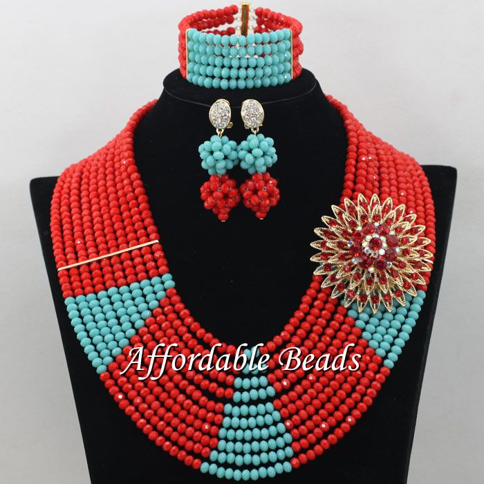 Red African Wedding Beads Jewelry Set Best Dubai Jewelry Set Handmade Design Wholesale Free Shipping ABE130 luxury african dubai jewelry sets hot wedding beads set handmade item wholesale free shipping ncd022