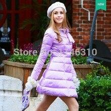 Dabuwawa оригинальный бренд мода новый 2016 зима тонкий фиолетовый элегантный краткое утолщение длинная юбка пуховик женщин оптовая