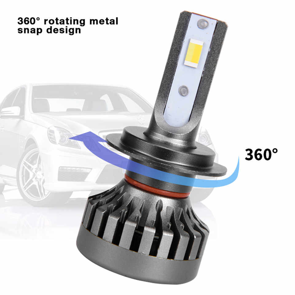 Tricolor 3000K 4300K 6000K 2Pcs H7 LED Headlight Bulbs H11 H1 H8 H9 H4 9005 9006 HB3 80W 16000LM Car Led Auto Headlamp Headlight