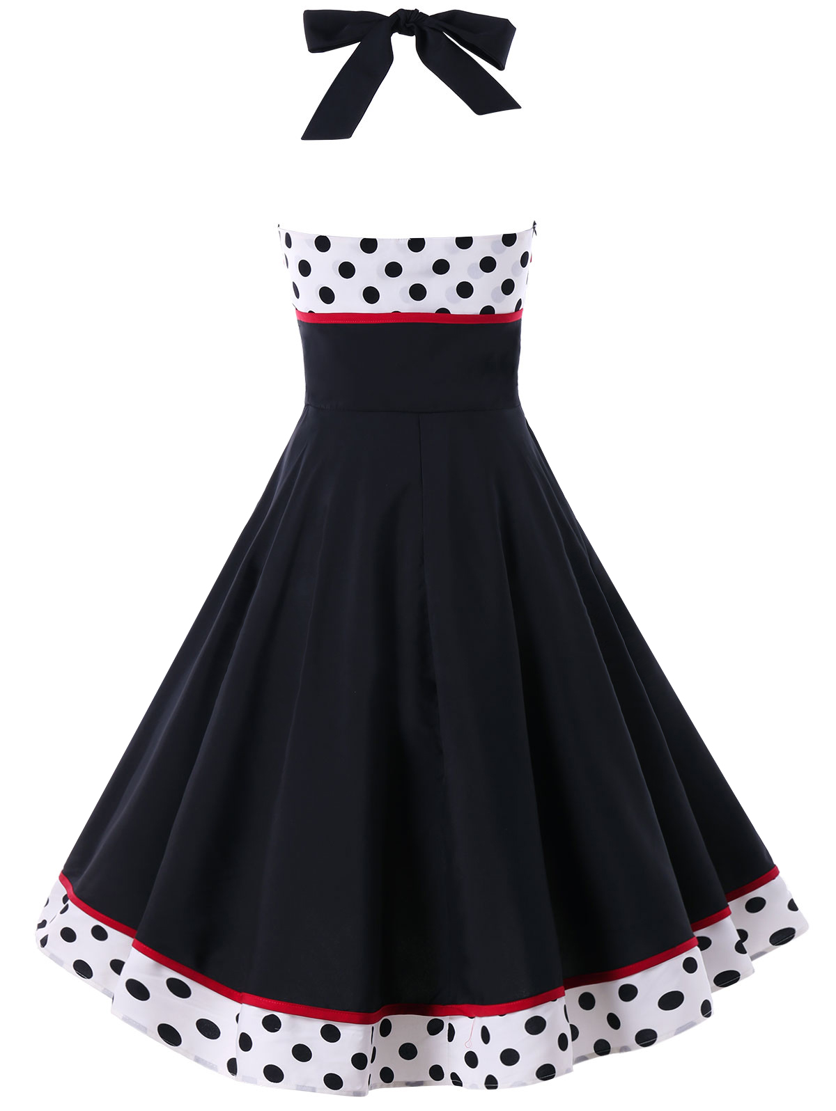 7ae825e3876e2 Kenancy Polka Dot Print Summer Women Vintage Dress Sexy Pin Up Halter Retro  Dress Rockabilly Swing Vestidos 1960s Party Dress