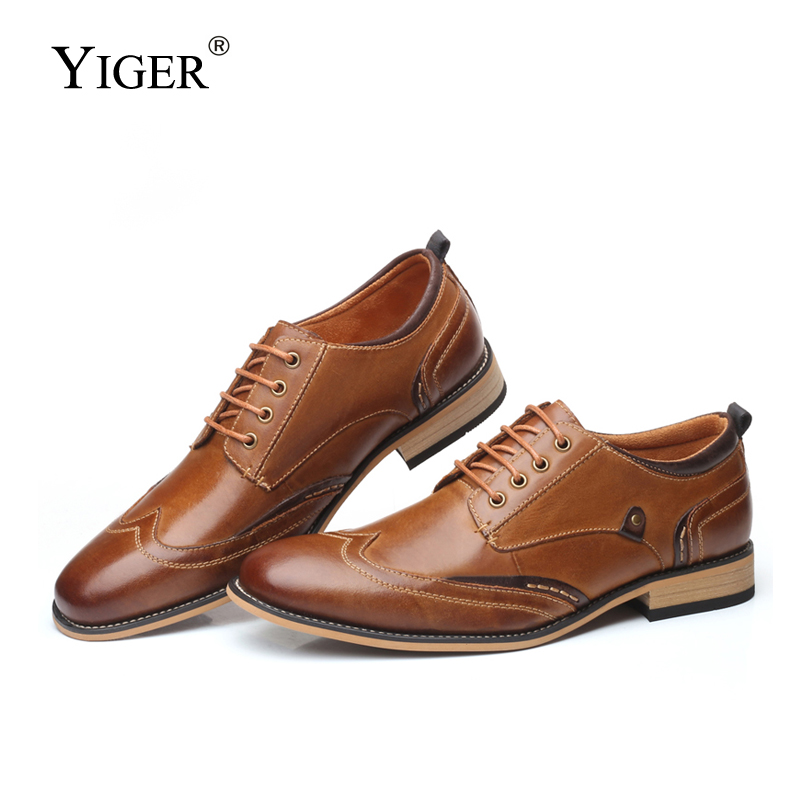 YIGER New Men Dress shoes Genuine Leather Man Business shoes male formal shoes lace up large