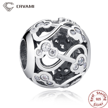 CRVAMI Bead, Lovely 925 Sterling Silver Minnie & Mickey Infinity Silver Charms fit Bracelets & Bangles Beads For Jewelry Making