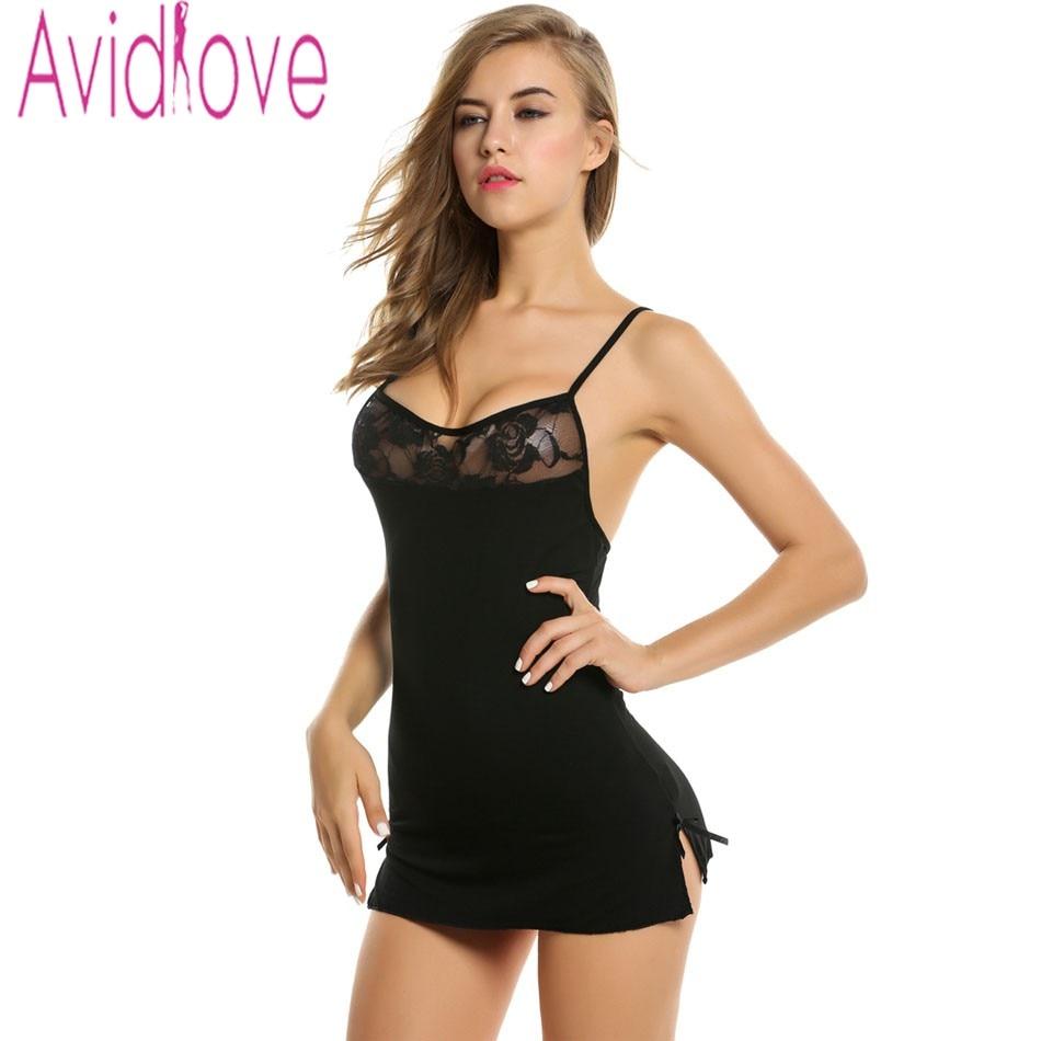 Avidlove Women Sexy Lace Nightgown Cotton Nightdress Stretch Mini Dress Sleepwear Sexy Lingerie Plus Size Nightwear for Women 2
