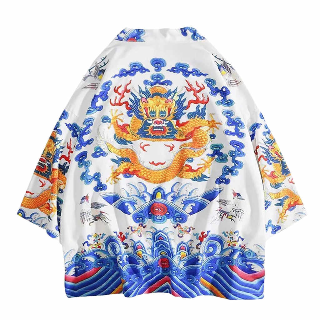 Harajuku Men Tops Kimono Cardigan Coat Summer Spring Clothing Lovers Jacket Individuality Print Blouse For Male outwear 2019 Hot