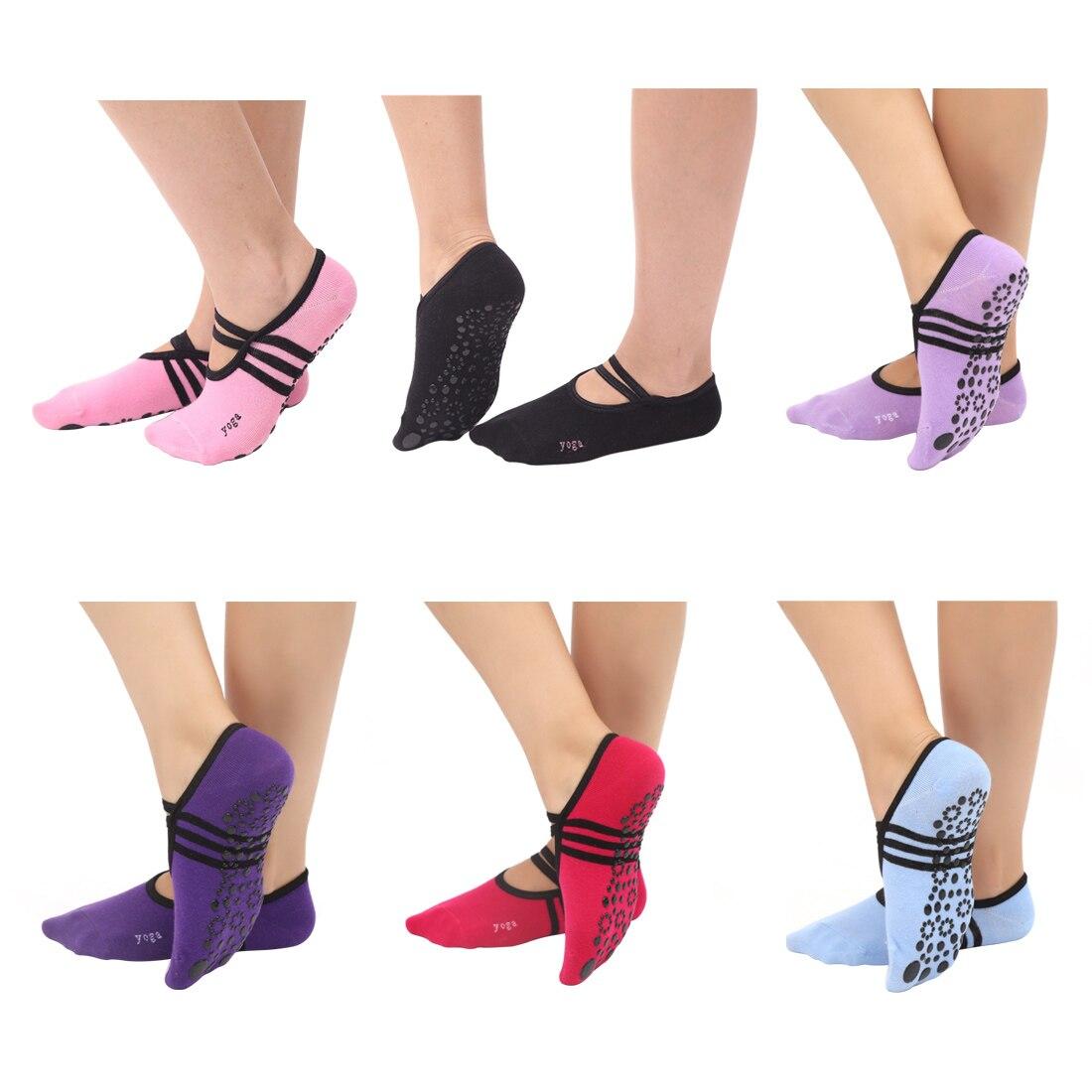 Women Anti Slip Bandage Cotton Sports Yoga Socks Ladies Ventilation Pilates Ballet Socks Dance Sock Slippers