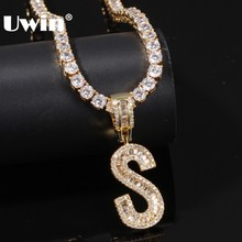 UWIN английские инициалы багет ожерелье с буквами кулон с 4 мм фианитом теннисные цепочки модные хип хоп мужчины женщины ювелирные изделия