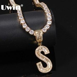 Image 1 - UWIN collier pendentif lettres Baguette anglaise avec 4mm, zircone cubique, chaînes de Tennis, bijoux hip hop à la mode pour hommes et femmes