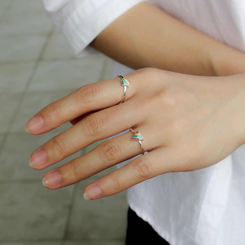 Trusta 100% стерлингового серебра 925 пробы модные ювелирные изделия Радуга Треугольник звезда коктейльное кольцо Размер 5 6 7 девочек Дети Рождественский подарок DS385