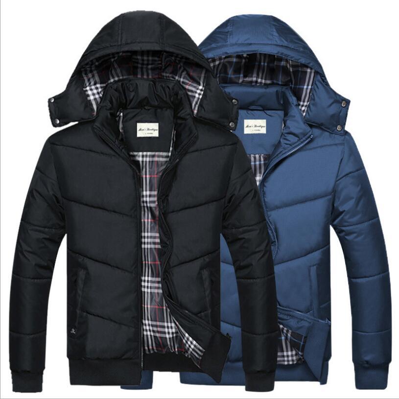 Men Hooded Winter Coats Outwear Casual Down Jackets New Fashion Men Slim Warm   Parkas   Black Winter Jackets Size 4XL