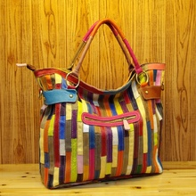 Handbag For Women Genuine Leather Striped Patchwork Colorful Shoulder Fashion Bags Lady Tote  Vintage Casual Travel Hand Bag
