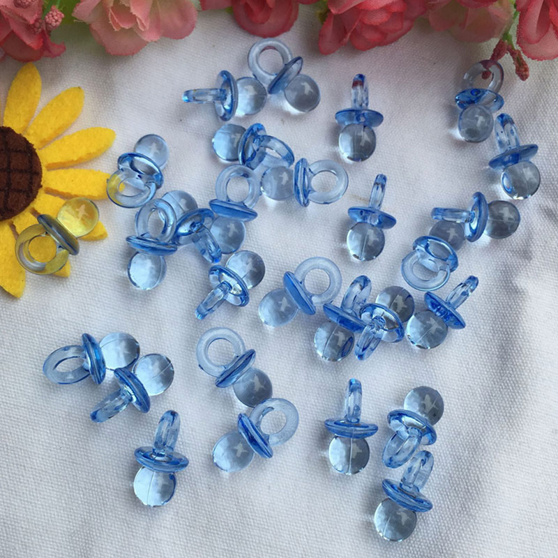 50pcs Mini Acrylic Charms Baby Pacifiers Shower Favors Party Game Decorations FJ88