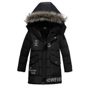 Image 2 - Ciepłe pogrubienie zimowe futro kołnierz dziecko płaszcz dziecięca odzież wierzchnia wiatroszczelne chłopięce dziewczęce kurtki dla 3 8 lat