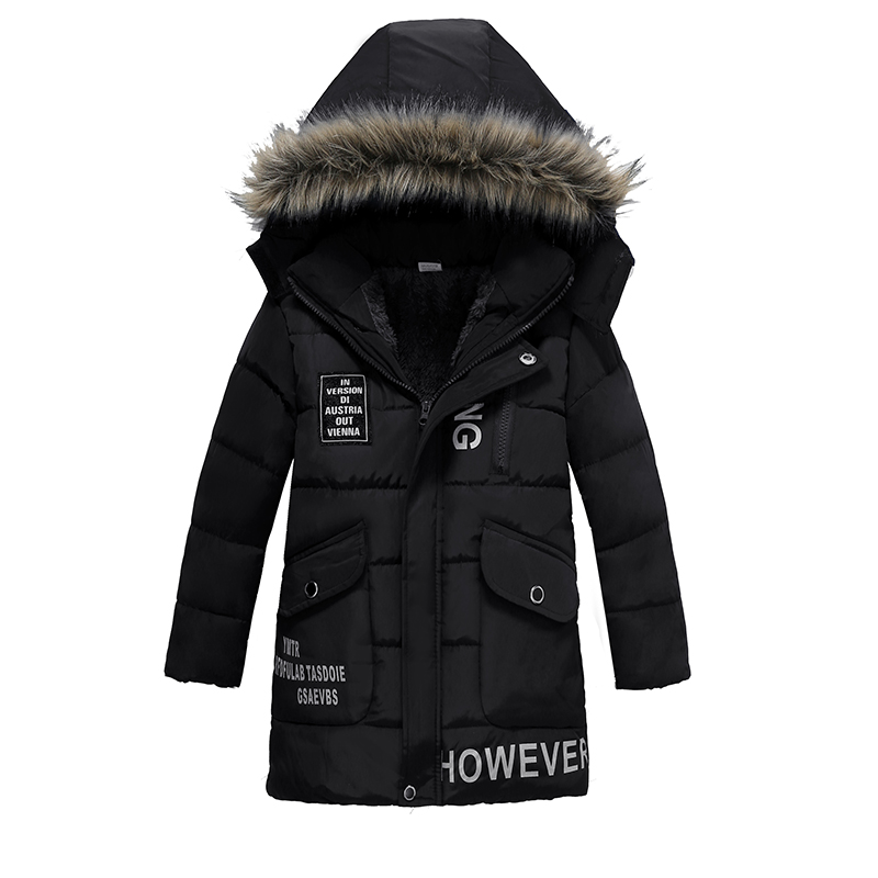 Warm Thickening Winter Fur Collar Child Coat Children Outerwear Windproof Baby Boys Girls Jackets For 3-8 Years Old
