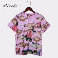 e Manco e Manco Cute Pink Harajuku Short sleeve 2018 women's shirts Summer top Korean style T shirt with sequins Flower&Fish