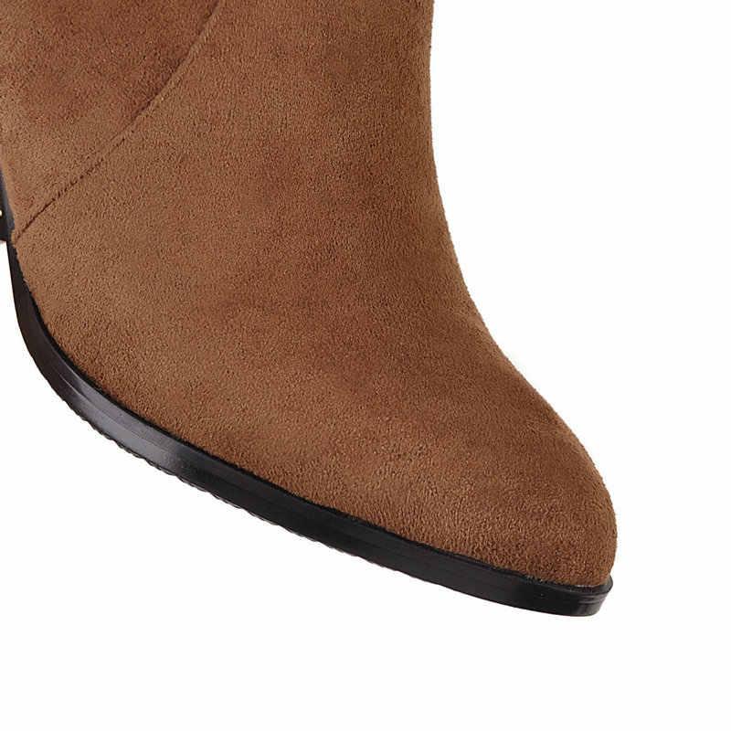 NEMAONE 2019 Nieuwe herfst winter vrouwen laarzen dikke hoge hakken knie hoge laarzen vrouw zwart grijs bruin schoenen vrouw grote maat 42 43