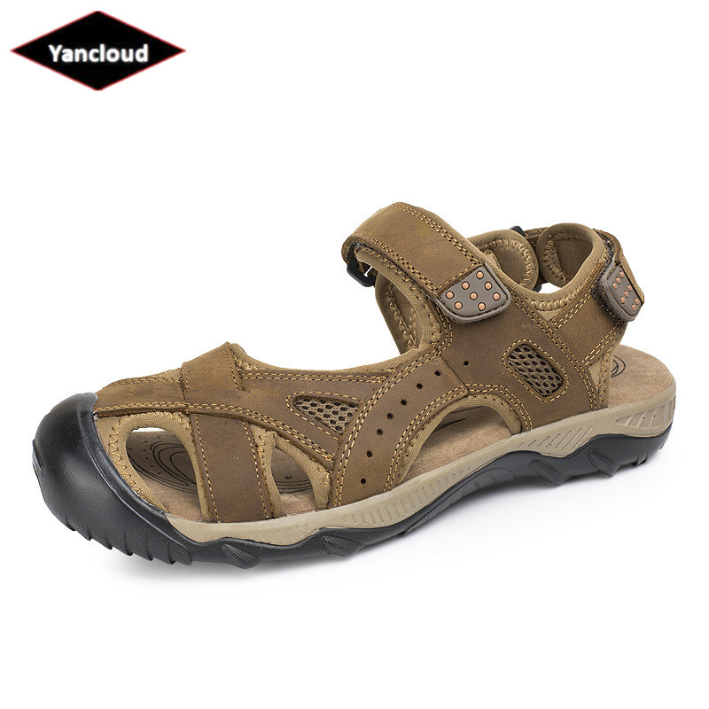 Summer Men Sandals Genuine Leather Shoes New 2018 Quality Rubber Handmade Soft Leather Beach Shoes for Men Size 46 47 48