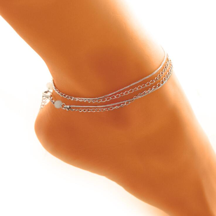 High Quality New 1 PC Multi-layer Sexy Ball Anklet Foot Chain Summer Bracelet Charm Anklets Beach Foot Wedding Jewelry Gift