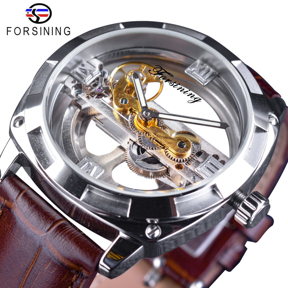 Forsining City Fashion Man Design Two Side Transparent Only Official Limited Men Watch Top Brand Luxury Automatic Skeleton Watch мужская классическая рубашка fashion city 2015new