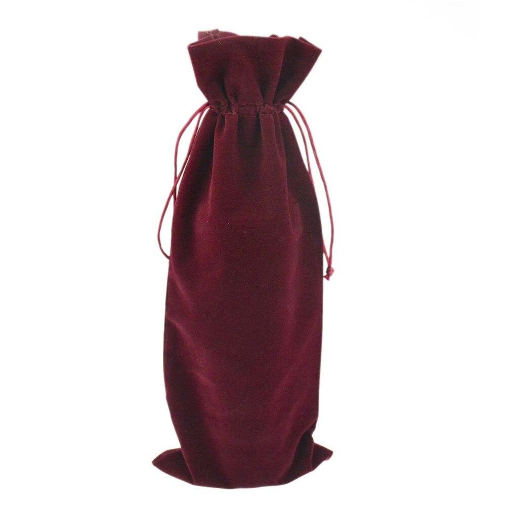 절연 재사용 가능한 와인 병 가방 다크 레드 벨벳 병 샴페인 와인 병 홀더 웨딩 파티
