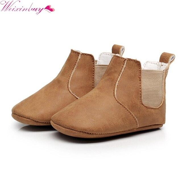 7253c6f787957 Bébé garçon fille chaussures infantile étape chaussures bottes bébé  chaussures burst élastique PU en cuir à