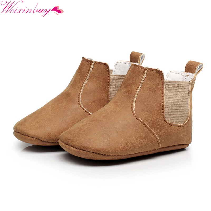 Baby Boy Girl Shoes Infant Step Shoes Boots Baby Shoes Burst Elastic PU Leather Soft Soled Shoes Boots