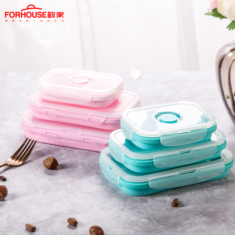 Silicone Collapsible Lunch Box Folding Food Storage Container Bento Microwavable Portable LunchBox for Kids Children